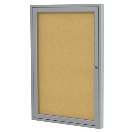 Ghent 36x36 1-Door Satin Aluminum Frame Enclosed Bulletin Board, Natural Cork, Made in the USA by (1 Door Enclosed Natural)