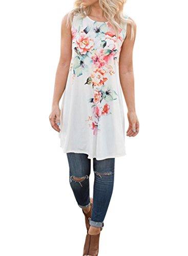 Ezcosplay Women Sleeveless Floral Print Asymmetric Hem Chiffon