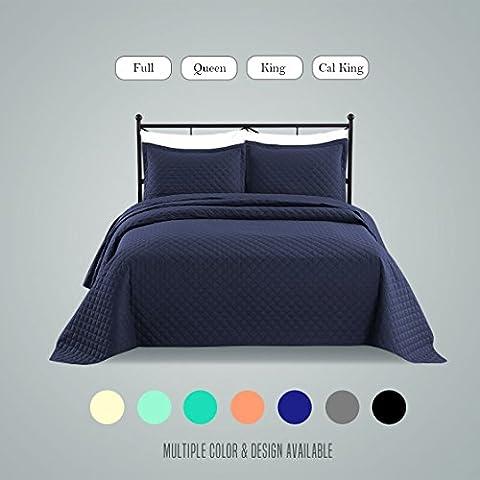 Luxe Bedding 3-piece Oversized Quilted Bedspread Coverlet Set (Full/Queen, Rhombus / Navy)