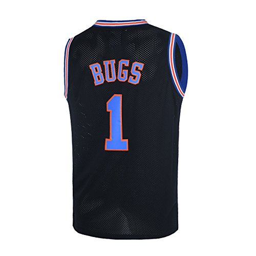 TUEIKGU Youth #1 Bugs Space Moive Jersey Kids Basketball Jersey for Boys S-XL(Black,Youth Small)