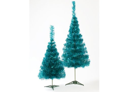 90cm Turquoise Christmas Tinsel Tree with Green Strands and Plastic Base PMS 451/734