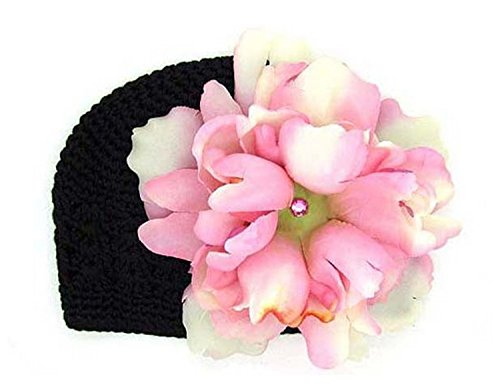 Black Crochet Hat with Pale Pink Large Peony, Size: 12-18m (Crochet Black Peony)