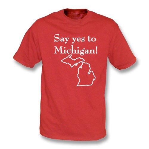 TshirtGrill Sagen Sie ja nach Michigan! (wie von Jack White getragen) T-Shirt, Farbe- Rot