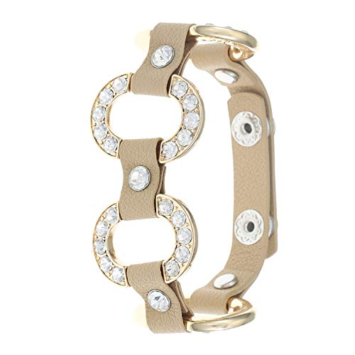 Classy Oval Encrusted Placed Station Stones Leather Bracelet For Mother's Day, Beige, Adjustable, Crystal
