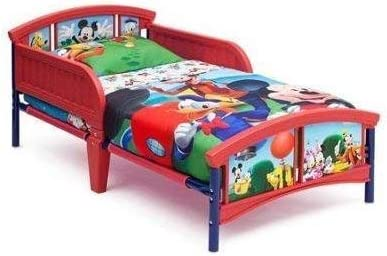 Durable Playful Walt Disney Mickey Mouse Plastic Toddler Bed With Sturdy Steel Frame, Multicolor