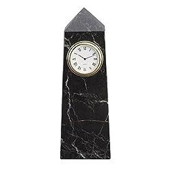 Black Zebra Marble Obelisk Desktop Clock