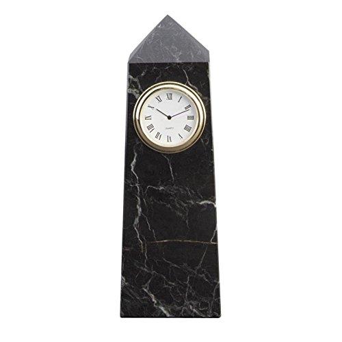 OKSLO Black Zebra Marble Obelisk Desktop Clock ()