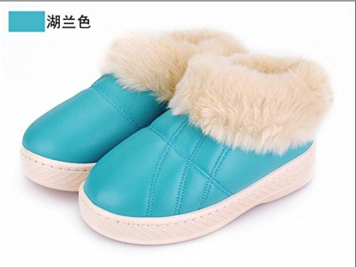 LaxBa Femmes Hommes chauds dhiver Chaussons peluche antiglisse intérieur Cotton-Padded Chaussures Slipper Lake bleu,36-37 (34-35