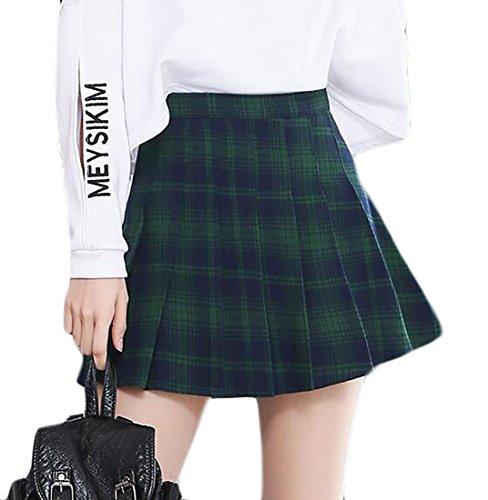 Cheap LD Womens Plaid Print High Waist Pleated Flared A-Line Mini Skirts