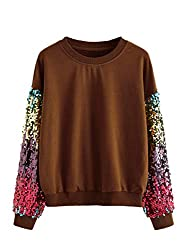 Brown Round Neck With Sequin Long Sleeve Sweatshirt