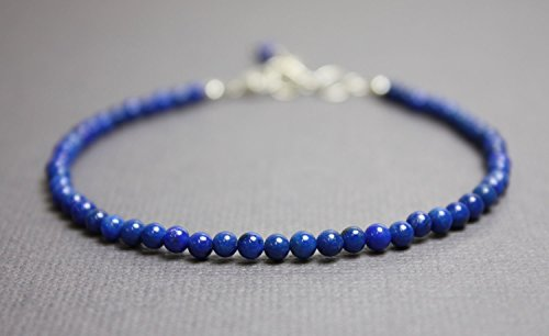 - Lapis Lazuli Bracelet~3mm with Sterling Silver Lobster Clasp-Adjustable 7