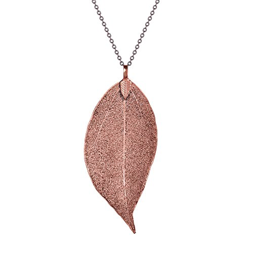 BOUTIQUELOVIN Women's Long Leaf Pendant Necklaces Real Filigree Autumn Leaf Fashion Jewelry Gifts (Copper)