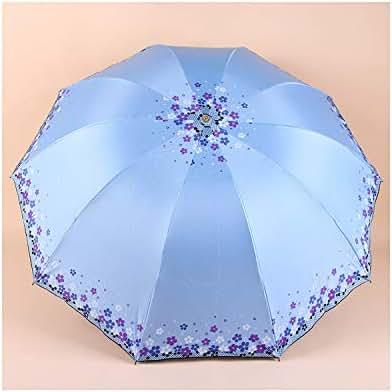 Two People Three Fold Compact Anti Uv Rain Sunshine Windproof Umbrellas Women Fashion,As Picture