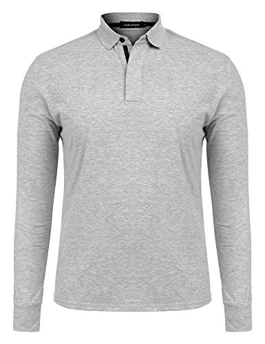Uniboutique Men's Athletic Golf Polo Shirts 2 Button Slim Fit Long Sleeve Polo T Shirt Grey S