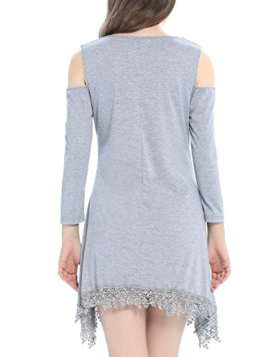 Swing Gray Women Dress Sleeve Cold Lace Long Casual Shirt Shoulder Dyefei Stretchy T 8dR47wxqq