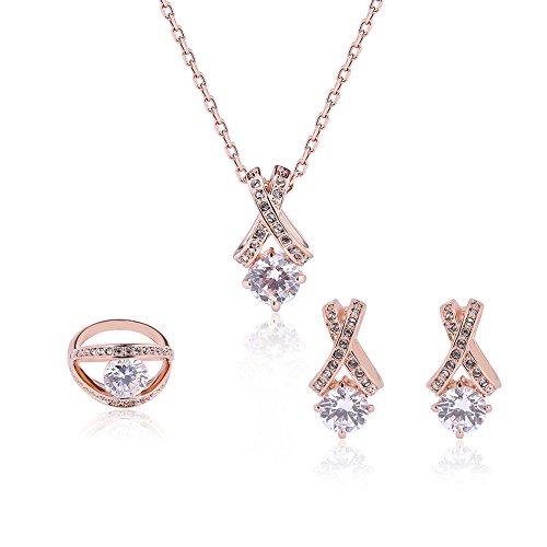 Women Rose Gold Plated Dangle Earrings and Necklace with Cubic Zirconia Fashion Bridesmaids Jewelry Sets ¡­