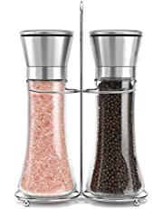 raqi premium Stainless Steel Salt and Pepper Grinder Set of 2 - Adjustable Ceramic Sea Salt Grinder & Pepper Grinder Tall Glass Salt and Pepper Shakers - Pepper Mill & Salt Mill