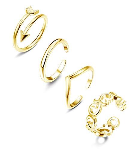 FIBO STEEL 4 Pcs Open Toe Rings for Women Girls Arrow Tail Band Toe Ring Adjustable ()