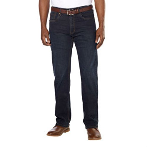Urban Star Men's Relaxed Fit Straight Leg Jeans, Dark Wash, 44 x - Star Jeans Blue