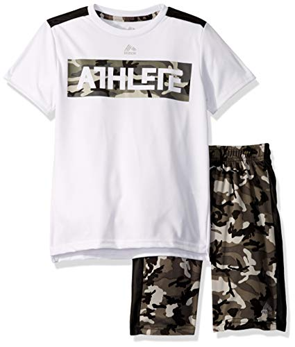 Athlete Top - RBX Boys' Big' 2 Piece Performance Top and Short Set, Athlete White, 8