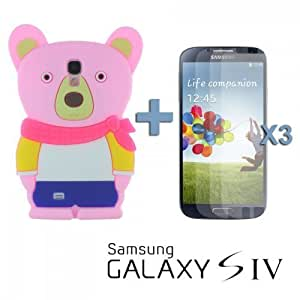 OnlineBestDigital - Bear Style 3D Soft Silicone Case for Samsung Galaxy S4 IV I9500 / I9505 - Pink with 3 Screen Protectors