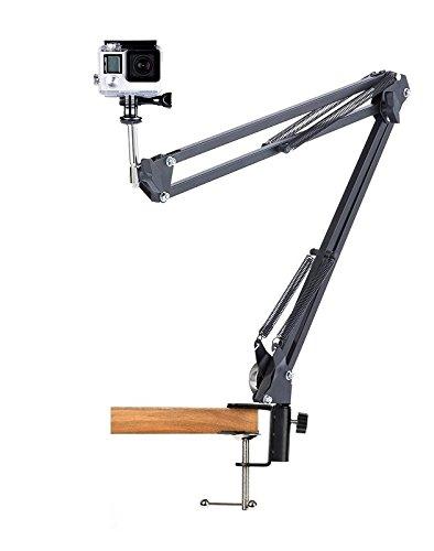 Desk Clamp Mount Suspension Boom Scissor Arm Tripod Stand Holder for Gopro Hero 5 4 3+ 3 2 1 Action Camera-black