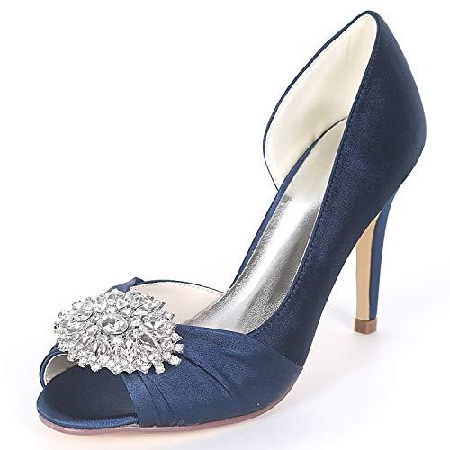 Boda Plataforma High L Satén Low Las Satin Navy Blue Peep Toe Heels Rhinestones Mujeres De 9cm Zapatos yc Espumosa q1fYt