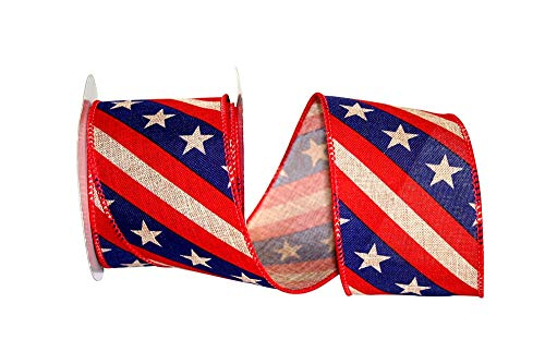 Rustic Patriotic Banner Wired Ribbon- 2 1/2