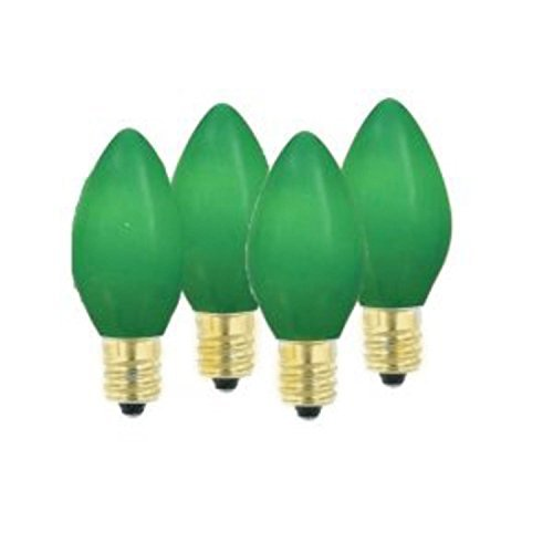 (Opaque Ceramic Green C9 Christmas Replacement Bulbs by Sienna)