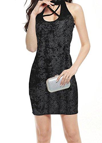 Women's Velvet Dress Fashion Cocktail Party Sleeveless Mini Betusline Black Sexy HCUqUP