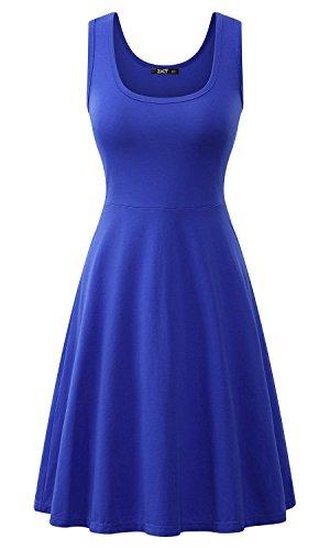 ZJCTUO Damen Ärmelloses Beiläufiges Strandkleid Sommerkleid Tank Kleid  Knielang Königsblau 1dwve 04db77577a