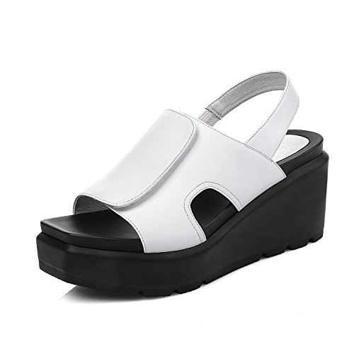 LIVY 2017 nuevas sandalias de ablandamiento de la pala inferior de tamaño ajustable de gran tamaño de cabeza cuadrada toda la tarta Blanco