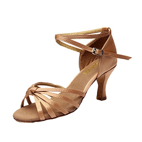 DorkasDE Damen Mädchen Tanzschuhe Latein Tanzschuhe Ballsaal Latein Tanz Schuhe mit 5/7cm Absatz Beige 7cm Absatz