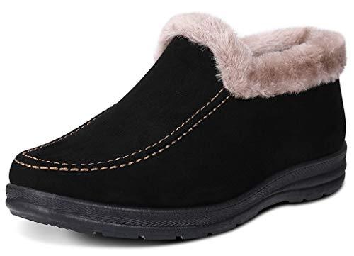 Labato Style Women's Winter Short Snow Boots Warm Slip-on Walking Shoes Fur Lined Footwear (Black, 8 B(M) US)