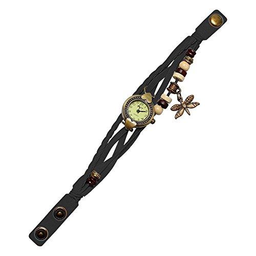 - POTO Women Quartz Watches Clearance Sale,Fashion Antique Dragonfly Bracelet Watch Hand Ring Wristwatch Analog Quartz Wrist Watches Jewelry Gift Watches for Ladies (Black)