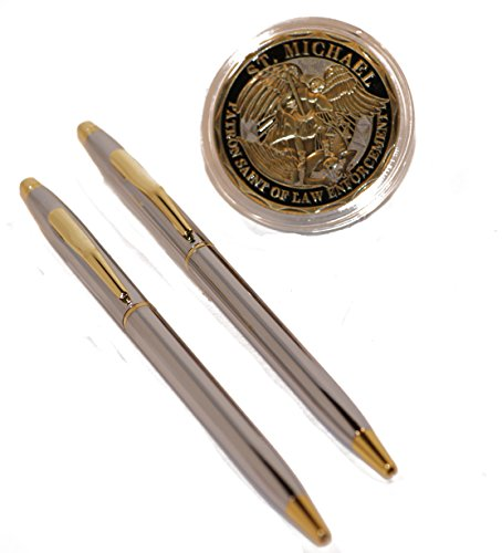 (Chrome and Gold Police Uniform Pens with Saint Michael's Police Badge Challenge Coin )