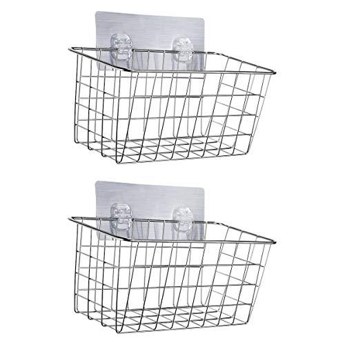 Stick Basket - HOMEIDEAS Adhesive Shower Basket Shelf Shampoo Conditioner Holder Deep Bath Wall Caddy, No Drilling, SUS304 Stainless Steel, Set of 2