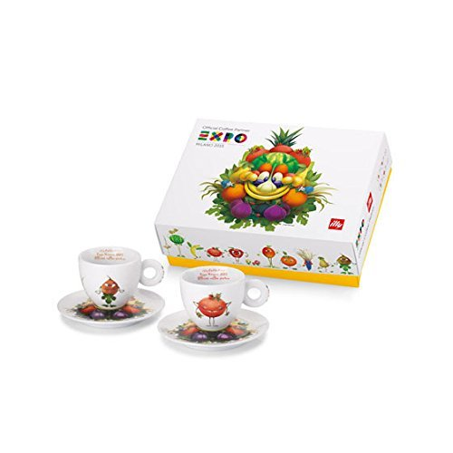 ILLY ART COLLECTION Coffee Set Expo 2015 Milano Mascot - 2 Cappuccino Cup 2 Saucers