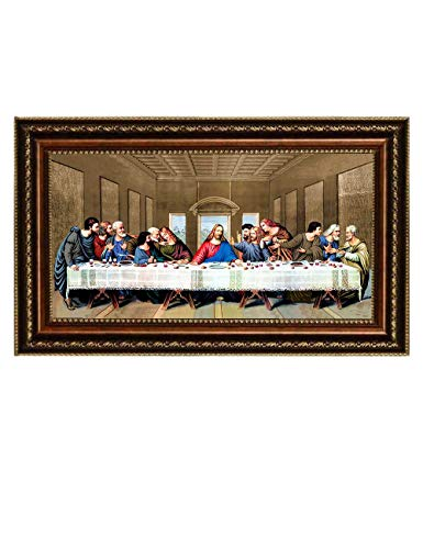 Eliteart- Jesus Christ The Last Supper by Leonardo da Vinci Giclee Art Canvas Prints Framed Size:34 3/4