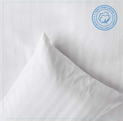 MakeMake Organics White Cotton Pillow Covers | Sateen Pillowcases | Striped 300TC Luxury Pillow Case | Envelope Closure | Hypoallergenic | Pure White Cotton | Pack of 1 | Queen 21x30 | White | PC003