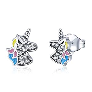 Sterling Silver Unicorn Stud Earrings for Women Girls, CZ Jewelry, Hypoallergenic Earrings, Unicorn Birthday Party Gifts