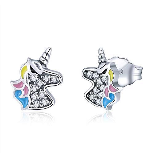 (Sterling Silver Unicorn Stud Earrings for Women Girls, CZ Jewelry, Hypoallergenic Earrings, Unicorn Birthday Party Gifts)