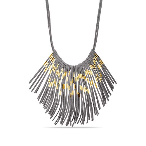 Steve Madden Yellow Gold Tone Suede Fringe Statement Necklace for ()