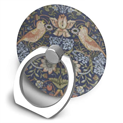 (FISHISOK William Morris Strawberry Thief Cell Phone Ring Holder,Finger Grip Stand Holder,360 Degrees Rotation,Circular Panel Compatible with iPhone,Samsung,Phone Case,etc)