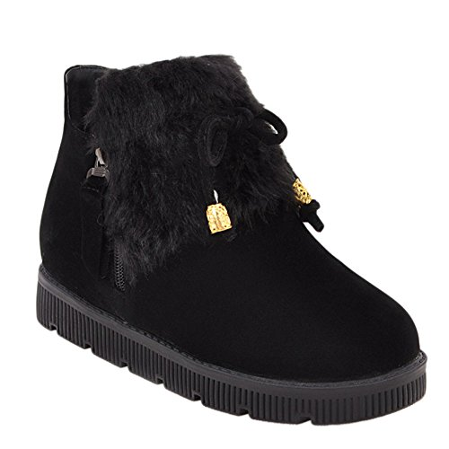 Latasa Womens Cute Cold Weather Flat Ankle Boots Black Dfl6e