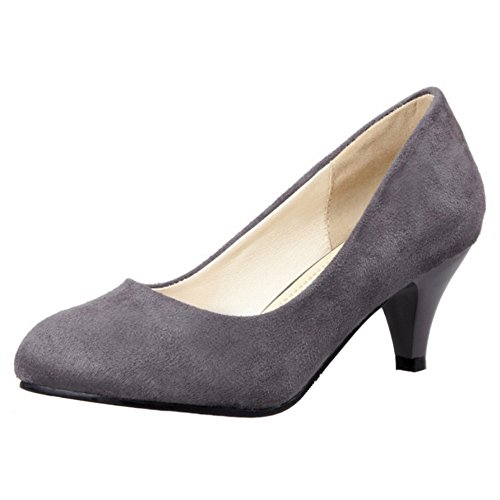 COOLCEPT Mujer Moda sin Cordones Boca Baja Zapatos Tacon Bajo Bombas Zapatos Fiesta Zapatos Gris