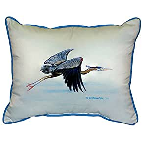 Betsy Drake Eddies Blue Heron Extra Large 20 X 24 Indoor / Outdoor White Pillow