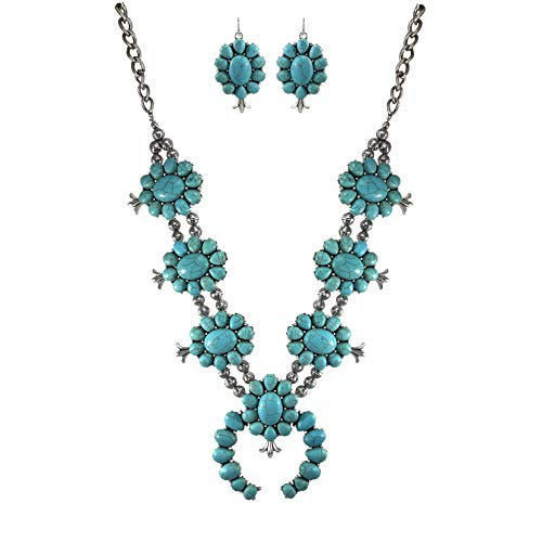 Turquoise Vintage Squash Blossom Metal Statement Necklace/w Earrings No.885 ()