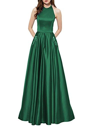Verde Ballo Halter Tasche Bellezza Da Donne Raso Bordato Backless Abiti Con Formale Nuziale 5PZqYA