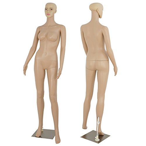 "ZENY Full Body 68.9"" Height Realistic Female Mannequin Display Head Turns Dress Form w/Base, Detachable Plastic Slapped Adjustable Dressmaker Dummy Standing Adult Plastic Mannequin"